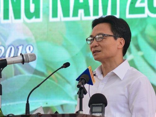 Phó Thủ tướng Vũ Đức Đam phát biểu khai mạc Lễ hội vải thiều Thanh Hà 2018.